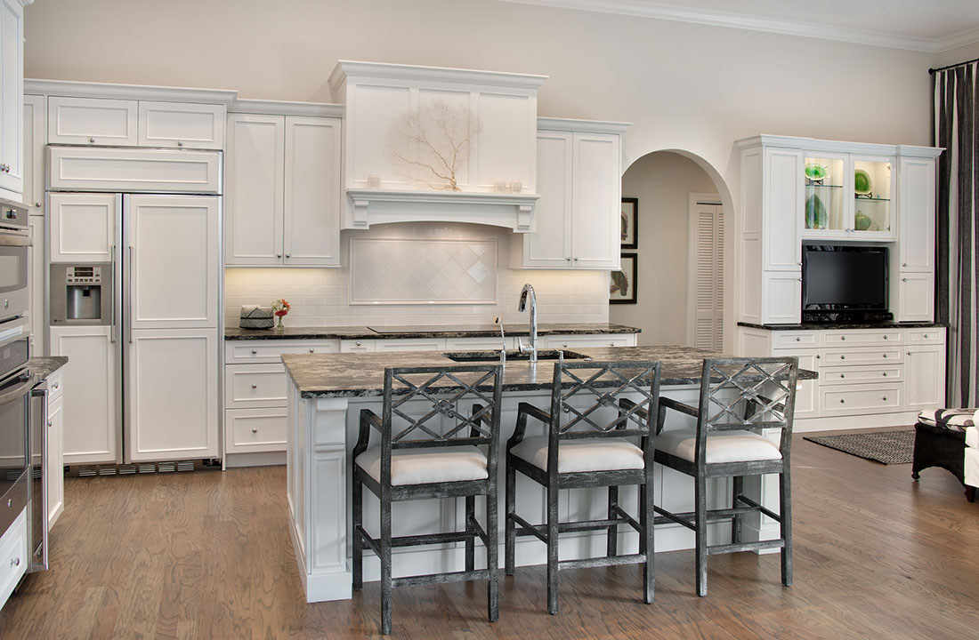 Large Center Island in Transitional Kitchen Remodel in Bonita Springs, FL